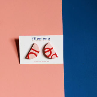 Red and Pink Scribble Stud Earrings by Sophie Filomena