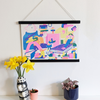 hung stylised risograph printed illustration of people reading