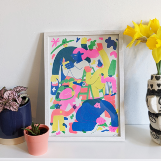 framed stylised risograph printed illustration of a person exploring