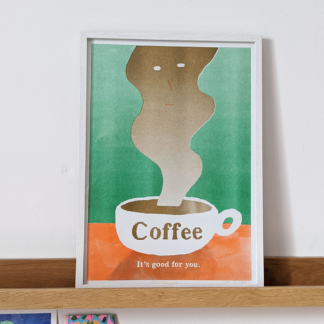 framed stylised risograph printed illustration of a cup of coffee and a face