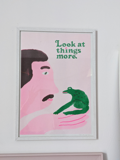 framed stylised risograph printed illustration of a person and a frog