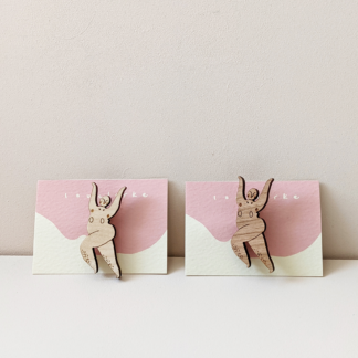 pair of mini wooden laser cut naked dancer brooches
