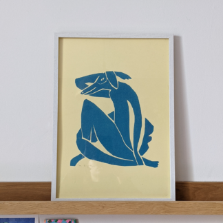 framed stylised risograph printed illustration of a dog in the style of matisse