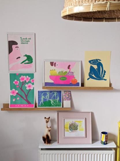 mixture of stylised risograph printed illustrations of various tom draws dogs prints